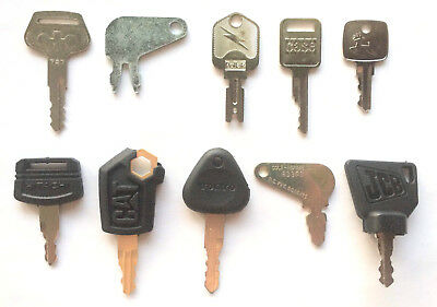 Heavy Equipment Key Set 10pc Case CAT JD JCB Komatsu Hitachi Volvo - OEM Logo