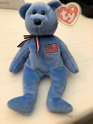 TY Beanie Baby - AMERICA the Bear (Blue Version) (8.5 inch) - MWMTs Stuffed Toy