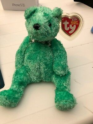Ty Beanie Baby LUCK-e Irish Bear Internet Exclusive 2002 St Patrick's Day MWMT