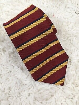 Men's Brooks Brothers Makers Red Gold Stripes 100% Silk Neck Tie Necktie