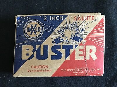 Vintage Unxld Buster 2 Inch Satute Firecracker Box Only EMPTY Backside Rough