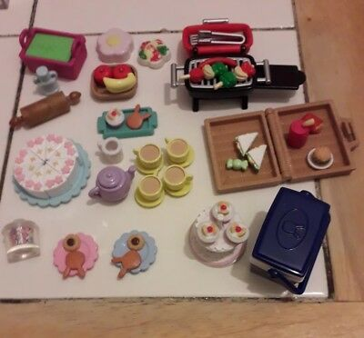 Sylvanian Families Food bundle bbq cool box cake tea set cookies