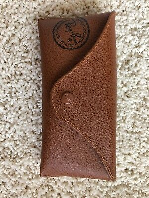 Ray Ban Brown Tan Leather Case for Aviator Sunglasses Travel Carrying Brand New