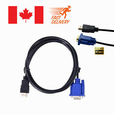 6ft 1080P HDMI to VGA 15 Pin HD Male Adapter Converter Cable For PC TV HDTV DVD