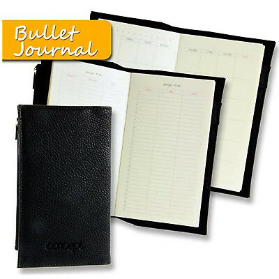 Leather Bullet Journal Notebook Annual Planner Diary with Zip Pocket  96 x 166mm