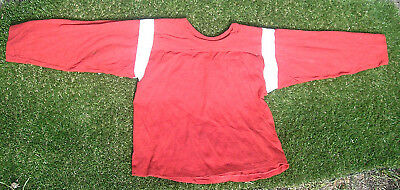 Vintage 1950's Youth Size Football Jersey, Shirt, Red & White, All Cotton