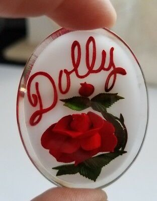 vintage lucite brooch with rose Dolly name