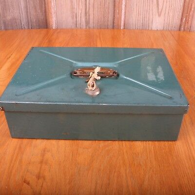 Vintage Green Steel Metal Cash Lock Box With 2 Keys Goodfrend Chicago