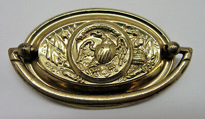 """Vintage Brass Oval Drawer Bail Pull With Eagle 3"""" Center"""