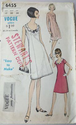 Vintage 1965 sewing pattern Vogue 6455 dress princess seam scoop neck size 12 bu