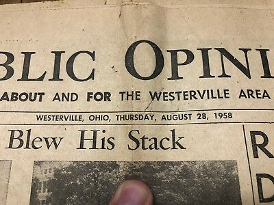 Westerville Public Opinion Otterbein Ohio Vintage Newspaper Aug 28 1958