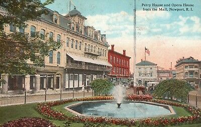 Rhode Island - Perry House and Opera House From The Mall- Newport, R.I.