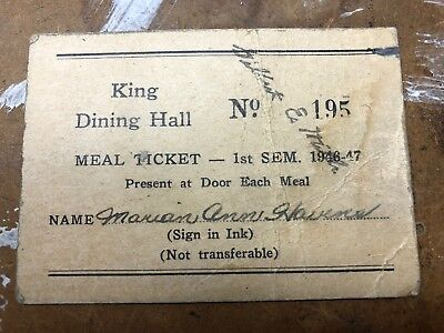 1946-47 King Hall Dining Card Otterbein College Westerville Ohio