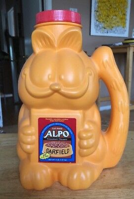 "Garfield Alpo Cat Food Pet Food Blow Mold Plastic Container Coin Bank 12"" Comic"