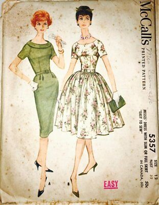 Vintage 1960's McCalls Printed Pattern #5357 misses dress with slim or full skir