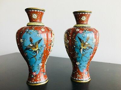 A Pair of Stunning Antique Japanese Cloisonne Vase, Beautiful Details!!!