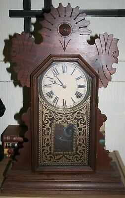 Antique Vintage Arts & Crafts Movement Clock Wooden Case Needs TLC Clock Restore