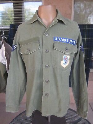 1974 Vietnam War USAF OG-107 Cotton Sateen Fatigue Utility Shirt with Patches