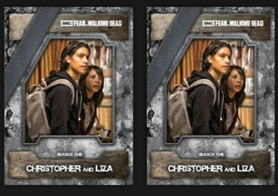 2x CHRISTOPHER AND LIZA-NIGHTMARE MARATHON FEAR-TOPPS WALKING DEAD CARD TRADER