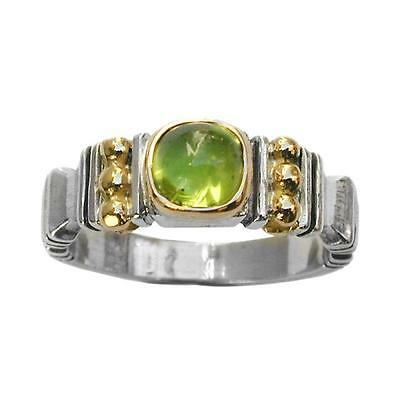 Gerochristo 2217 ~ Solid Gold & Sterling Silver with Peridot Medieval Band Ring