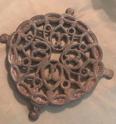Antique Wilton Victorian Cast Iron Round Footed Trivet for Coffee Urns & Pots