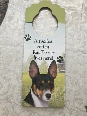 Rat Terrier Dog Theme Wooden Door Hanger