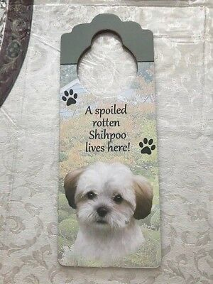 Shihpoo Dog Theme Wooden Door Hanger