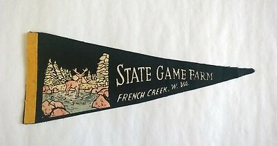 WEST VIRGINIA STATE GAME FARM Vintage FELT PENNANT - FRENCH CREEK WV w/DEER