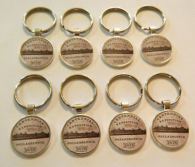 8 - 1876  Philadelphia  Centennial Key Rings  Sterling Silver Plated