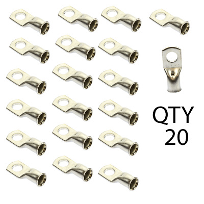 """1/0 AWG gauge 3/8"""" Tin Plated Copper Crimp Ring Terminal Lug QTY 20 Pack"""