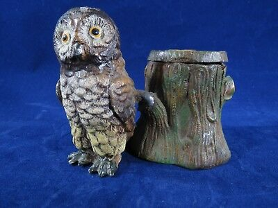 Vintage Heyde inkwell, Owl standing next to a tree stump