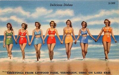 1952 Ohio Postcard: Bathing Beauty Greetings From Linwood Park Vermilion, Oh