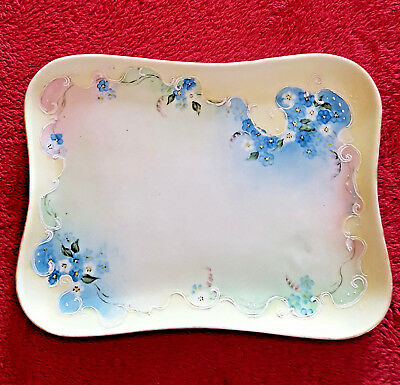 Antique Vanity Dresser Tray Victorian Porcelain Hand-Painted Blue Yellow Pink