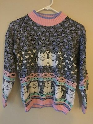 80s Vintage Pastel Girls Sweater Sz 10 12 Cats Pastel