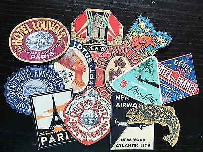BB82 -- Lot of 12 Vintage Luggage Tags Hotel Poster DIE CUTS for CARD MAKING