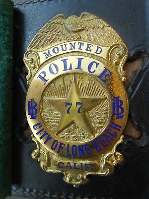 ANTIQUE OBSOLETE BADGE Mounted Police City Horse Cops Long Beach Calif. 1955 C