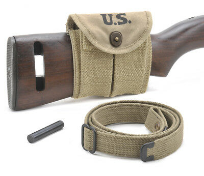 USGI WW2 .30 M1 CARBINE SLING, OILER, & BUTTSTOCK POUCH KHAKI Dated 1942