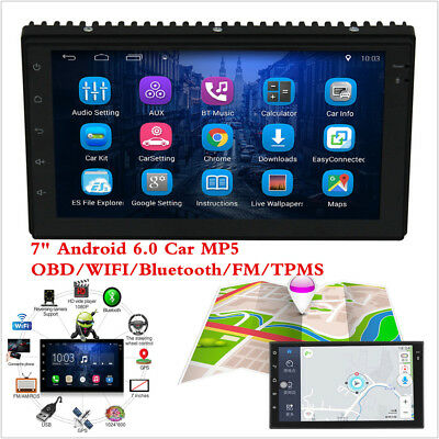 "7"" 2 DIN Car Radio Stereo MP5 Player Android 6.0 GPS Navigation WIFI RDS TMPS"