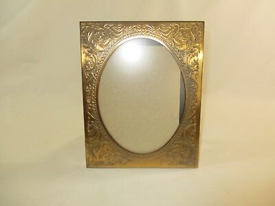 """Vtg.Solid Brass Art Nouveau Style Flowers & Vines Standing Picture Frame 7.5""""x6"""""""