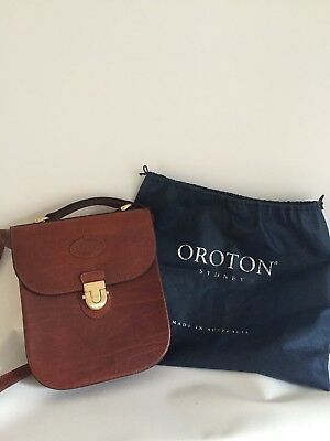 Oroton Vintage Leather Cross Body Bag With Dust Bag