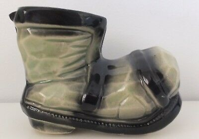 Vintage Collectable Ceramic Green Black Novelty Boot Ashtray Ornament Planter