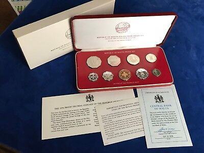 1976 Malta Decimal Proof Coin Set with box, papers and outer sleeve