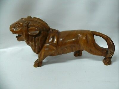 Vintage Chinese Wooden Carved Lion