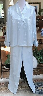 NEW Size L Light Blue Flannel Lined Satin Long Sleeve Winter Pajamas Top Bottoms