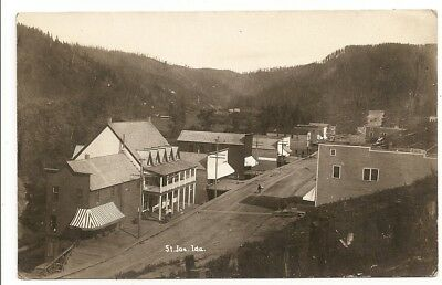St. Saint Joe, street buildings 1909 postmark, Idaho ID photo rppc Postcard