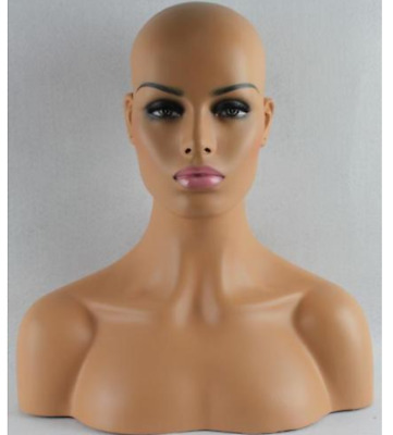 NEW Sand Color Female Fiberglass Mannequin Head Bust For Wig,Jewelry/Hat Display