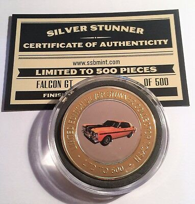 NEW GT 351 Ford Falcon Colour Silver Stunner Coin with C.O.A. LTD 500