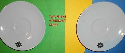 2 Twa Airlines First Class Ambassador China Saucer Coffee Tea Cup Plate Dish Lot