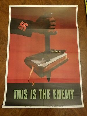 "Wwii American Propaganda Poster ""this Is The Enemy"" Anti-Axis / Original / 1943"