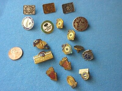 Lot Of 17 Mixed Safe Driver Award Pins Years Post Office Insurance safety patch